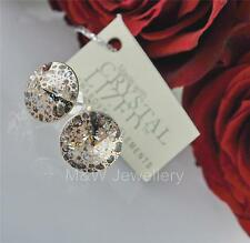STUDS EARRINGS SWAROVSKI ELEMENTS RIVOLI ROSE PATINA 12mm STERLING SILVER 925