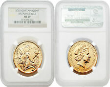 Great Britain 2003 Britannia Bust 100 Pounds 1 oz Gold NGC MS69