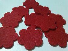 10 Applicazioni decorazioni in feltro a forma di fiore rosso