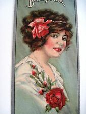 """Vintage Victorian Ad Bookmark """"Jesse French & Sons, Piano Co."""" w/ Lovely Woman *"""