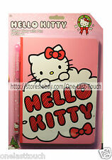 HELLO KITTY 60 Sheets GLITTER Diary+Ink Pen PINK+RED+CLOUD Set/Kit FOR GIRLS