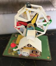 Vintage 1966 Fisher Price Music Box Ferris Wheel Toy 3 Little People Works USA