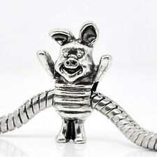 "Silver Tone "" PIG ""Bead Charm for Snake Chain Charm Bracelets"