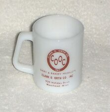 CLARK O ORTH CO. Dairy & Bakery MOORHEAD MN Federal White Milk Glass MUG CUP