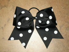 "NEW ""POLKA-DOT BLACK"" Cheer Bow Pony Tail 3 Inch Ribbon Girls Hair Cheerleading"