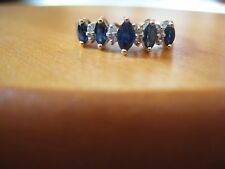 14KT GOLD SAPPHIRE & DIAMOND RING SIZE 7-7.5