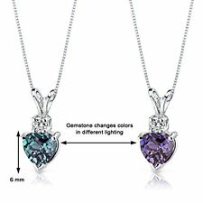 Heart Shape Color Change Alexandrite June Birthstone Diamond White Gold Necklace