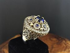TURKISH HANDMADE OTTOMAN 925 STERLING SILVER SAPPHIRE STONE LADY RING SIZE 7 US