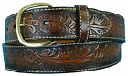 Big & Tall Men's Western Leather Belt BROWN Cowboy Style by Aquarius 34 - 60