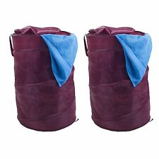 Set of 2 Pop Up Clothes Hamper Dark Red with Zippers and Carrying Straps