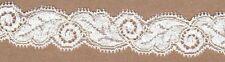 Avorio diplomati Stretch Lace TRIMMING 5mts 2,5 cm di larghezza