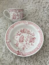 SPODE WINNIE POOH 2003 DISNEY  CEREAL BOWL AND CUP EXCELLENT RED rare