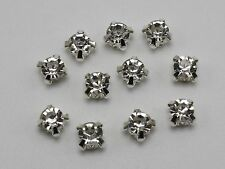 200 Silver Clear Crystal Glass Rose Montees 5mm SS18 Sew on Rhinestones Beads