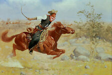 Huge Oil painting horseman cowboy rider riding red horse running in landscape