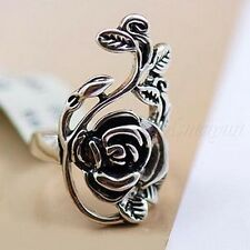 Rose Flower Vine Finger Rings Vintage Silver Retro Tibet Women's Ring Z1H