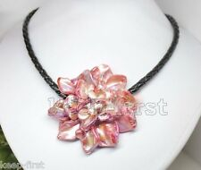 """Beautiful Women's Pink Freshwater Pearl Sea Shell Flower Leather Necklace 18"""""""
