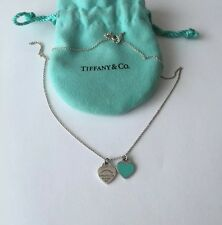 "RETURN TO TIFFANY Blue Enamel MINI DOUBLE HEART TAG 16"" Silver NECKLACE Pouch"