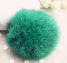 New Elegant Soft Fluffy Rabbit Fur Ball Key Chain PomPom Handbag Car Key Ring