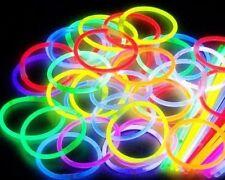 """50x 8 """"BASTONCINI LUMINOSI fluorescenti bracciali fluo Glowsticks STRASS COLLANA parti"""