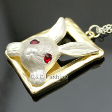 Gold & Silver Alice In Wonderland Ruby Eye March Hare Rabbit Frame Necklace