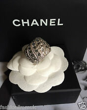 CHANEL 16P SILVER CC EMBELLISHED CRYSTAL WIDE BAND RING 54