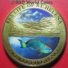 SAINT HELENA 2013 25 PENCE COLORED NAPOLEON FISH SEA LIFE MOUNTAIN PRF-LIKE 38mm
