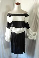 NEW OFF SHOULDER Black & White STRIPED Poet Sleeve BLOUSON Color Block DRESS S