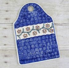Polish Pottery Cheese Cutting Serving Board 9 1/4 in Blue Flowers Manufaktura