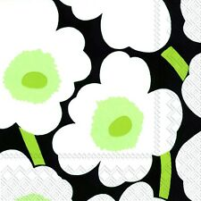 UNIKKO black Marimekko black white flowers paper lunch napkins new 20 in pack