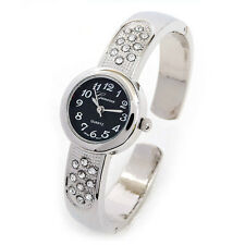Silver Black Crystal Petite Size Round Face Women's Bangle Cuff Watch
