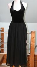 NEW RARE April Cornell Black Stretch Velvet Chiffon Halter Dress Evening Wear  S