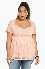 NWT Torrid Plus Size 5X Coral Lace Cinch Front Babydoll Top Plus Size (EEE13)