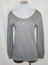 BoHo CHIC ROXY Gray Hi Lo Grommet Comfy Baggy Sweatshirt Blouse Top XS/S