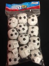"12 Foam Filled Vinyl Soccer Balls Soft 2"" Dia Kick Dozen Prize Goody Bag Toy New"