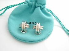 Tiffany & Co Silver Rare Signature X Clip On Earrings Pouch Included