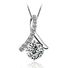 "1.5CT CZ Ribbon Necklace S925 Sterling Silver Chain 18"" Love heart MOM gift#0046"