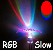 100pcs 5mm RGB Rainbow Slow Flashing Flash Red Green Blue LED Leds + Resistors