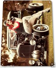 "TIN SIGN ""Red Light"" Pin-up Metal Decor Wall Art Hot Rod Garage Shop Cave A159"
