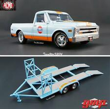 ACME / GMP 1968 GULF RACING C 10 TRUCK & TANDEM CAR TRAILER DIECAST 1:18 NEW!!