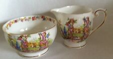 "Footed Sugar Bowl & Creamer from England  Bell "" ROSE COTTAGE "" Fine Bone China"