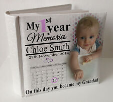 "Personalised white photo album, 100 x 6x4"" photos,baby 1st year memory Grandad"