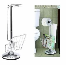 FREE STANDING TOILET PAPER ROLL HOLDER MAGAZINE NEWSPAPER STAND RACK CADDY NEW