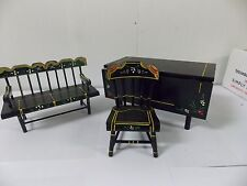 VTG Shackman Wood Dollhouse Miniatures Black Hand Painted Table Chair Bench Set