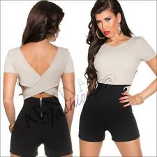 NEW PADDED european designer SHORT OVERALL sz XS S M sexy GIRLS FASHION JUMPSUIT