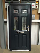 Grey Composite Door | Anthracite Grey Classical Halfglaze with Java Glass