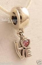 ALL ABOUT LOVE Authentic PANDORA Pink CZ/Silver VALENTINE Heart Dangle Charm NEW