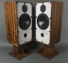 Vintage Mid Century Danish Modern Style Zebra Wood Mission 770 Speakers
