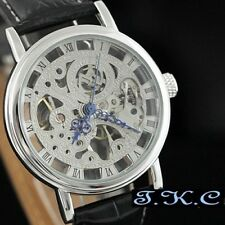 Silver Mechanical Skeleton Steampunk Hollow Wind-up Black Leather Unisex Watch