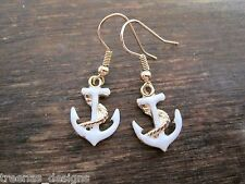 WHITE ENAMEL GOLD ANCHOR Earrings GP ROCKABILLY SAILOR JERRY NAUTICAL TATTOO