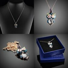 Damen Eule Schmuck Halskette Original Design + Swarovski Element +Vergoldet /R06